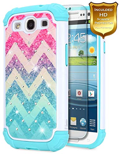 Galaxy S3 Case w/[Screen Protector HD Clear] NageBee Glitter Diamond Sparkle Bling Hybrid Protective Armor Soft Silicone Cute Cover w/[Studded Rhinestone Bling] Compatible with Samsung Galaxy S3 -Wave -