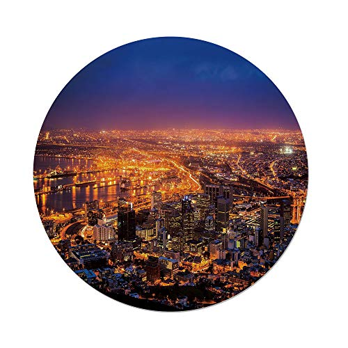 Polyester Round Tablecloth,City,Cape Town Panorama at Dawn South Africa Coastline Roads Architecture Twilight,Marigold Blue Pink,Dining Room Kitchen Picnic Table Cloth Cover,for Outdoor Indoor