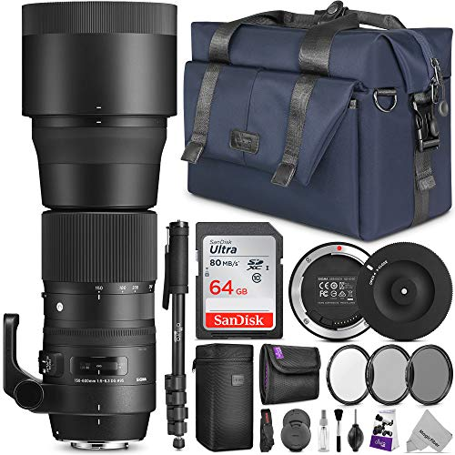 Sigma 150-600mm 5-6.3 Contemporary DG OS HSM Lens for Canon DSLR Cameras w/Sigma USB Dock & Advanced Photo and Travel Bundle