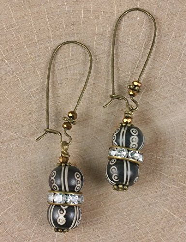 Carved Nepal Handmade Beads with Rhinestone Crystal Roundels Antique Brass Earrings (Crystal Roundels Light)