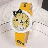 Cute water-proof cartoon Rilakkuma quartz watch for students,yellow