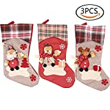 Renashed 3 Pcs Set Big size Classic Christmas Stockings for Decoration plaid Old man, Elk, Snowman