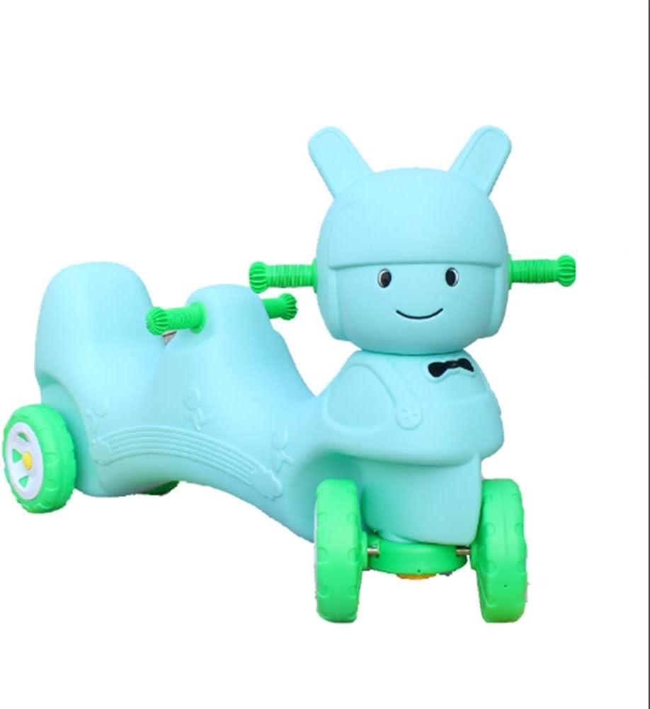 LGLE Scooter Balance Car Niños Bici sin Pedales Niño Yo-Yo Cars Cuatro Ruedas Doble Kindergarten Niños Juguetes al Aire Libre Deportes de Interior,Blue-Doll-Tandem