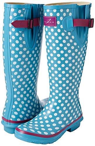 Mujer Agua Azul Dot Lunar Botas Polka Para Largas De gq7X0w7