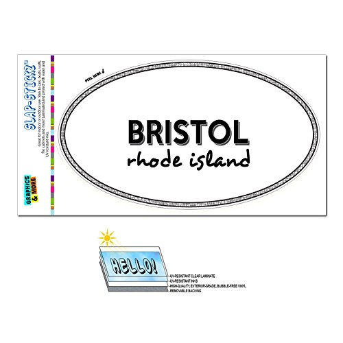 Graphics and More Euro Oval Window Bumper Laminated Sticker Rhode Island RI City State Bar - Woo - Bristol