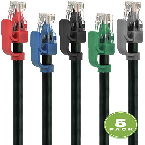 Mediabridge Cat6 Ethernet Patch Cable (5-Pack - 5 Feet) - Soft Flex Tab - RJ45 Cord - Multi-Color - (Part# 32-699-05X5M) by Mediabridge