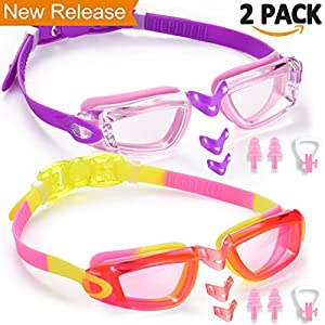 Noorlee Kids Swim Goggles, 2 Pack Swimming Glasses for Children and Early Teens (Age 3 to 15 years old), Anti-Fog, Watertight, UV Protection, Soft Silicone Frame and Strap, 180 Degree Vision