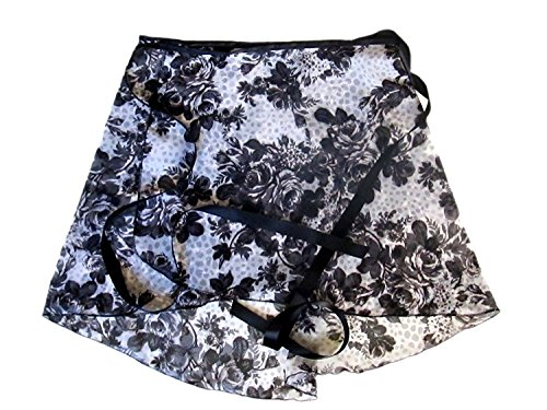 Sheer-Delights Black, Grey and White Grayscale Roses Wrap Ballet Skirt (S/M)