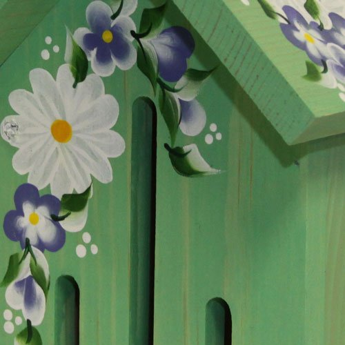 Nature Gift Store Butterfly House: Green with Hand Painted Daisies, Hand Made in Wisconsin USA