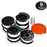 "OFPOW Line String Trimmer Replacement Spool 30ft 0.065"" for BLACK+DECKER String Trimmers, Replacement Autofeed Spool, Compatible with BLACK & DECKER AF-100, 9-Pack (8 Replacement Spool, 1 Trimmer Cap)"