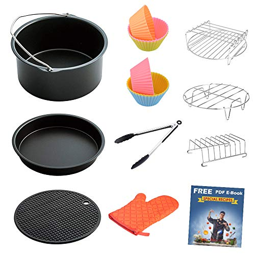 Air Fryer Accessories 8 Inch for 5.8 qt XL Air Fryer, 9 pieces for Gowise Phillips and Cozyna Air Fryer, Fit 4.2 qt to 5.8 qt, ONLY sell from FamilyLike, all other sellers are FAKE!!