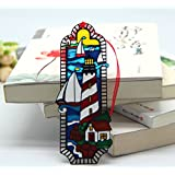 Acever Metal Bookmarks with Hand Paint on Art Glass Tiffany Lighthouse