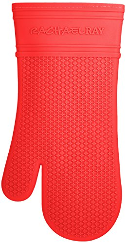 Rachael Ray Silicone Kitchen Oven Mitt with Quilted Cotton Liner, Red