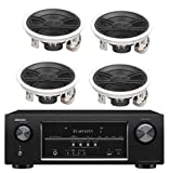Denon 5.2 Channel 700-Watt Full 4K Ultra HD Bluetooth AV Home Theater Receiver + Yamaha High-Performance 3-Way Surround Sound in-ceiling Speaker System (Set Of 4)