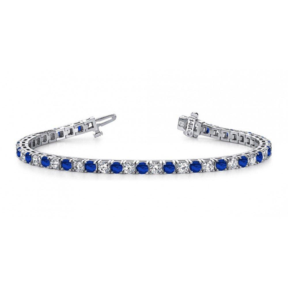 3.00CT Created Blue Sapphire & CZ DiamondsTennis Bracelet 14k White Gold Plating