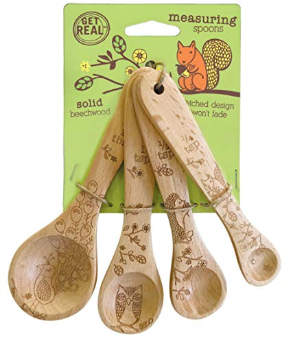 Talisman Designs 1201 Laser Etched with Woodland Design Beechwood Measuring Spoons, Set of 4, (Spoons Measuring Kitchen Collection)