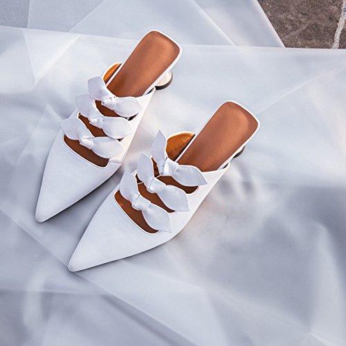 fredda alto Qingchunhuangtang trascinando punta tacco Baotou sandali sandali Bianco tWq10