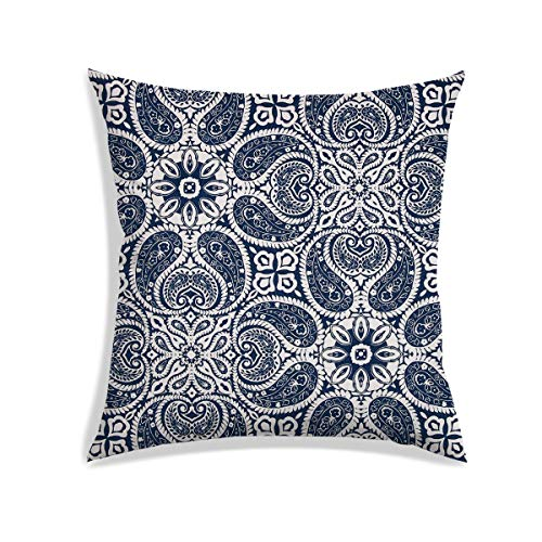 Paisley Satin Pillowcase - RADANYA Floral Paisley Digitally Printed Cushion Cover Off White Satin Decorative Square Pillow Case Throw 16x16 Inch