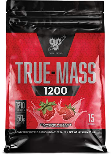 BSN TRUE-MASS Weight Gainer, Muscle Mass Gainer Protein Powder, Strawberry Milkshake, 10.25 Pound