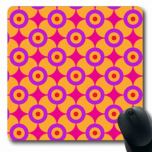 Funky Mod Rubber - LifeCO Computer Mousepad Colourful Sixties Geometric Pattern Vintage Orange Era Mod 60S Retro Funky Design Oblong Shape 7.9 x 9.5 Inches Oblong Gaming Non-Slip Rubber Mouse Pad Mat