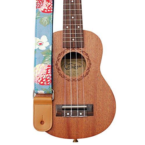 MUSIC FIRST Original Design Strawberry Flowers Vintage style Soft Cotton & Genuine Leather Ukulele Strap Ukulele Shoulder Strap