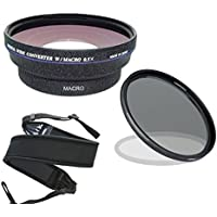 Canon VIXIA HF R700 (High Definition) 0.44x Wide Angle Lens With Macro + 67mm Circular Polarizing Filter + Stepping Ring 43-52 + Wide Neoprene Strap.