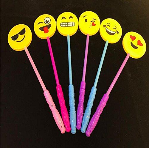 5 PACK LED Light-Up Emoji Face Smile Lollipop Glow Sticks Fashion Toys For Girls - Princess Flashing Fairy Wand Sticks Birthday Gift Party Supplies Dress Decoration ()