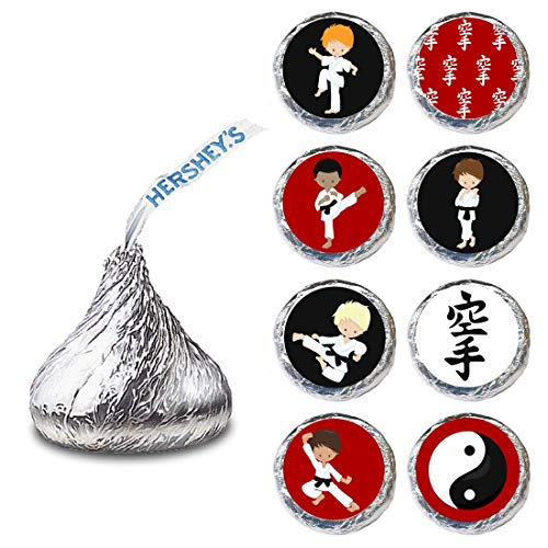 Karate Boy Label for HERSHEY'S KISSES® chocolates - Martial Candy Sticker Party Favor - Set of 240
