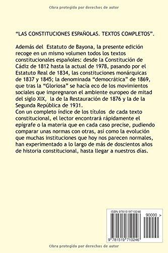 Las constituciones espanolas. Textos completos: Amazon.es: Gotor ...