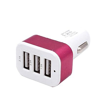 Demino DC 5.0V 2.1A Adaptador / 2A / 1A Coche Universal 3 Puertos USB Cargador de teléfono de Carga rápida Enchufe USB Rosa roja