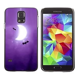 TopCaseStore / la caja del caucho duro de la cubierta de protección de la piel - Bats Art Drawing Purple Moon Crescent - Samsung Galaxy S5 SM-G900