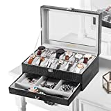 LANGRIA 12-Slot Watch Box with Bottom Jewelry Tray Faux Crocodile Leather Exterior Soft Lining Interior 12 Removable Cushions Metal Clasp Closure 2-Tier Display Showcase with Glass Lid, Grey Interior