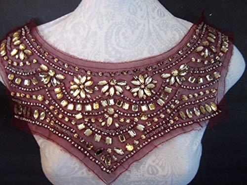 16''Full BIB - Bodice Jeweled Neckline Applique BurgundyBRILLIANT