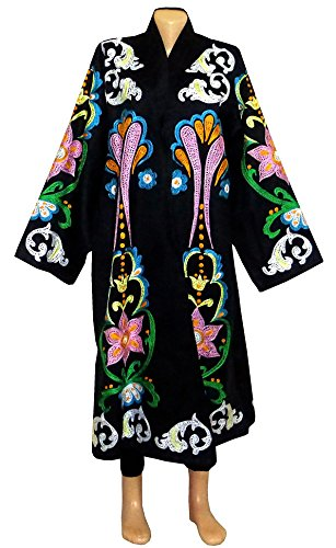 beautiful special silk embroidered Uzbek long jacket coat robe chapan outwear in Ottoman style Must see! B230 by East treasures