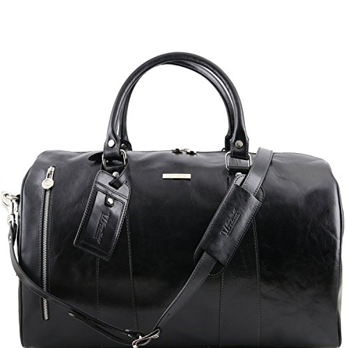 Tuscany Leather TL Voyager Travel leather duffle bag - Small size Black by Tuscany Leather