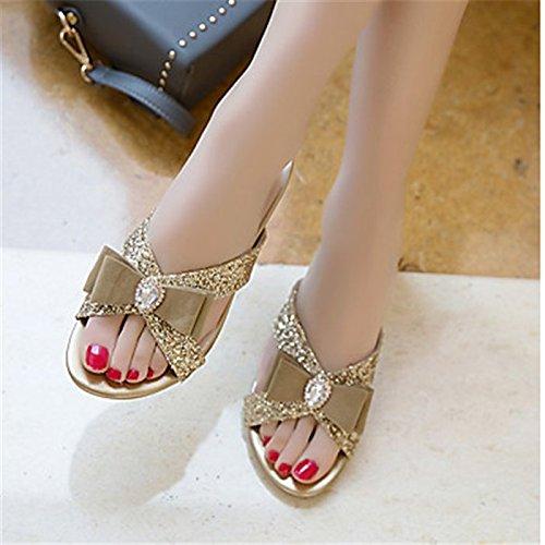YFF Sandales femmes Talon similicuir,or,US5.5 Boucle