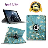 Newraturner iPad 2/3/4 Case - 360 Degree Rotating Stand Smart Case Protective Cover with Auto Wake Up/Sleep Feature for Apple iPad 4, iPad 3 & iPad 2 (Blossom)