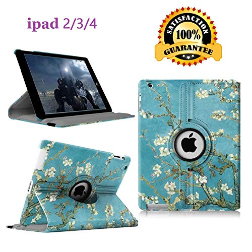 iPad 2/3/4 Case - 360 Degree Rotating Stand Smart Case Protective Cover with Auto Wake Up/Sleep Feature for Apple iPad 4, iPad 3 & iPad 2 (Blossom) (Ipad Cover For Ipad 2)