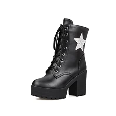 Women's Soft Material Lace-up Round Closed Toe High Heels Low-top Boots