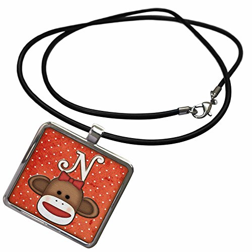 3dRose Dooni Designs Monogram Initial Designs - Cute Sock Monkey Girl Initial Letter N - Necklace with Rectangle Pendant (ncl_102817_1) ()
