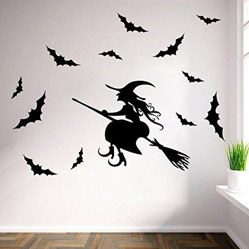 Halloween Witch Wall Art Sticker Door Stairs Living Room Bedroom Decor Teenager Kids Children Decal Murals Wallpaper Poster Party Decoration]()