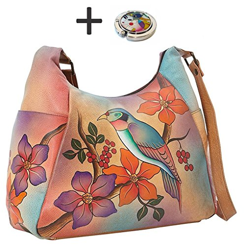 Handbag Purse Purse on Bird Real Holder on Pocket Design Anuschka Leather Hobo Painted with Anna Multi Brunch Hand BAAEq
