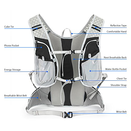 Sky tree SKYTREE Hydration Backpack, Waterproof Race Hydration Vest for Outdoor Trail, Marathoner, Running, Lightweight & Versatile. Water Bladder is not included.
