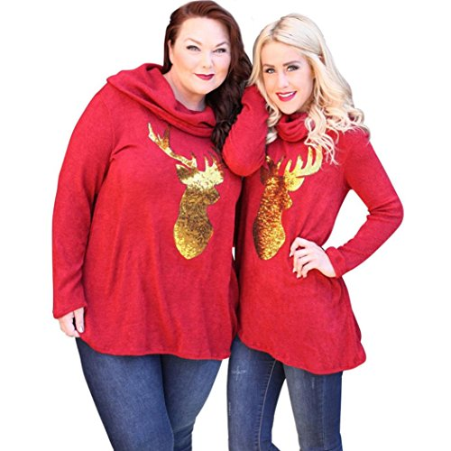 AMA(TM) Women Christmas Deer Printed Casual Splicing Blouse Tops Dress (3X-Large, (New Jersey Halloween Parties)