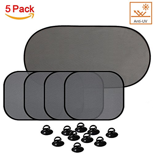 Car Window Shade for Side and Rear Window with Suction Cups, Car Sunshade Protector - Protect Children and Pets from Sun Glare and Heat (5 PCS ) ()