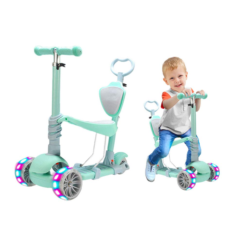 5 in 1 Kids Kick Scooter, 3 Wheels Walker with Removable Seat and Back Rest, 4 Adjustable Height, Light Up Wheels for Toddlers 1-8 Years Old Support 50 kg by Beebeerun