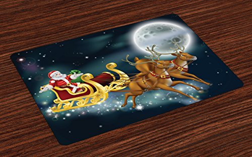 Lunarable Christmas Place Mats Set of 4, Santa Claus with Reindeer in Sledge Dark Starry Night with Moon Fantasy, Washable Fabric Placemats for Dining Table, Standard Size, Space Blue