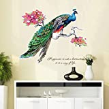 Wall Stickers,GOODCULLER DIY Chinese Style Peacock Environment Layout TV Background Wall Decoration Removable Wall Stickers Home Decor