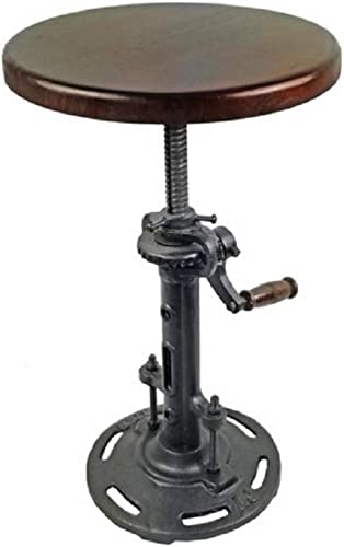 NACH Charlie Adjustable Industrial Style Cast Iron Bar Stool with Wooden Seat, Black, Wood, One Size