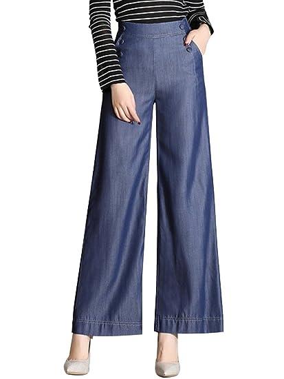ae451a0494b Sobrisah Women s High Waist Casual Tencel Denim Wide Leg Palazzo Pant   Amazon.co.uk  Clothing